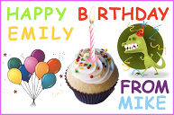 A birthday card with balloons, a dinosaur and a cupcake