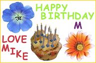 A birthday card with a cupcake and flowers