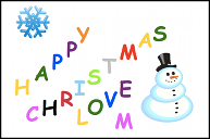 A Christmas card with a snowflake and a snowman