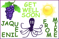 A get well soon card with some black grapes, a bright yellow sun, and an octopus