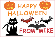 A Halloween card with a black cat and some bats
