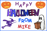 A Halloween card with Jack-o'-lanterns, a witch on a broomstick, and a ghost