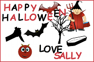 A Halloween card with a wizard, a coffin, a devil and some bats