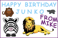 A birthday card with a lion, zebra, monkey and hippopotamus